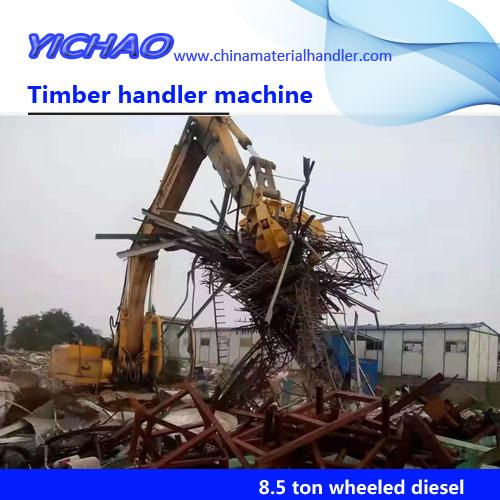 China small 8500kg/8.5 ton wheeled grapple crane with log grapple/ hydraulic log grab crane / excavator grab scrap grapple crane