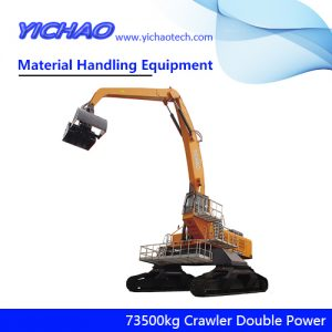 China 73500kg Crawler Electrical Diesel Engine Dual Power Material Handling Equipment Manufacturer for Wood and Steel Grabbing